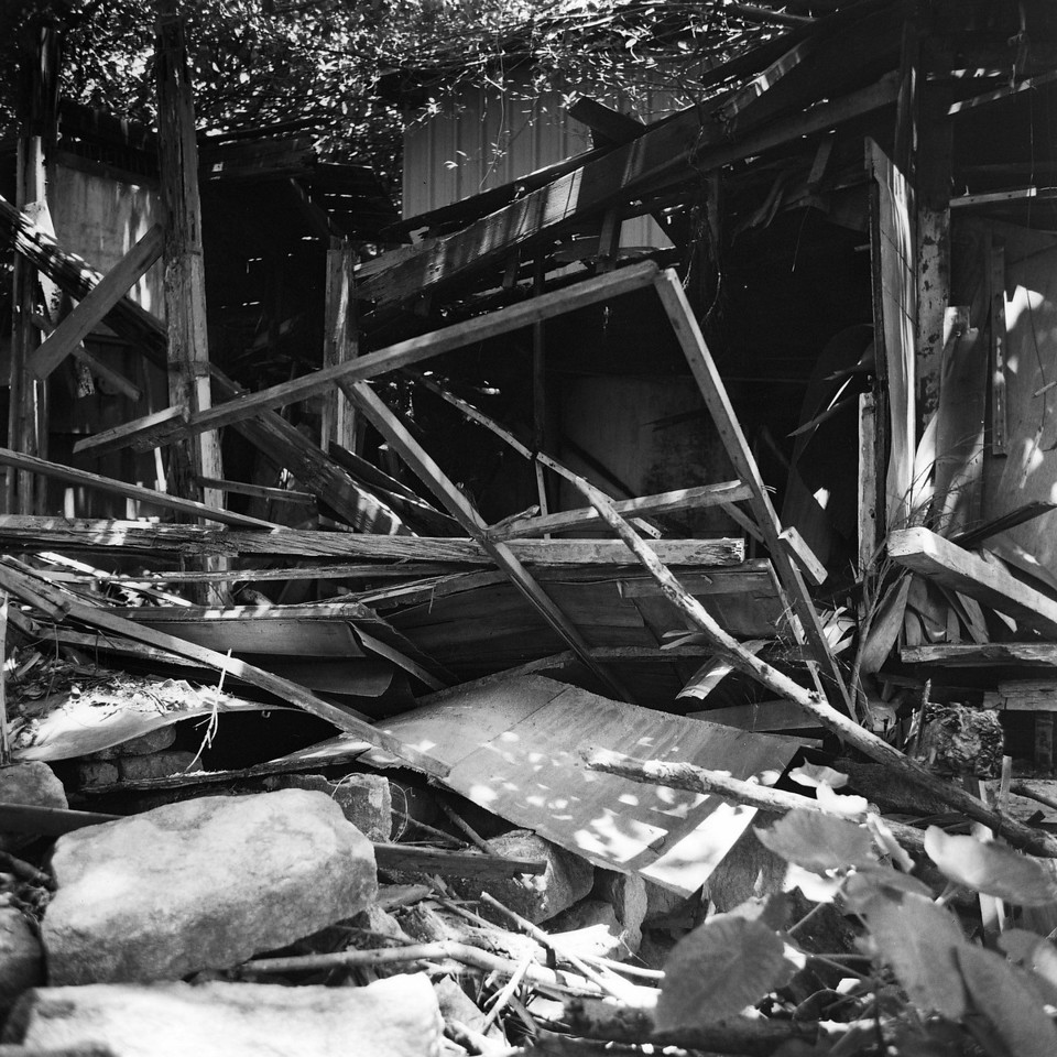 Derelict - Shot on Shanghai GP3 100 at EI 400. Black and white negative film shot as 6x6. Push processed two stops.